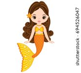 vector cute little mermaid... | Shutterstock .eps vector #694526047