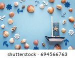 Background With Seashells And...