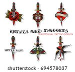 vector set of daggers and... | Shutterstock .eps vector #694578037