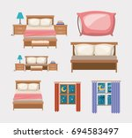 color background with bedroom... | Shutterstock .eps vector #694583497
