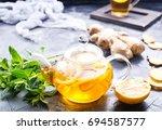 ginger mint and fresh tea | Shutterstock . vector #694587577