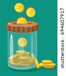 bank  jar  money save money ... | Shutterstock .eps vector #694607917