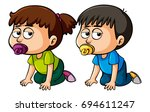 girl and boy toddler crawling... | Shutterstock .eps vector #694611247