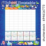 template school timetable for... | Shutterstock .eps vector #694616773