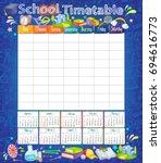 template school timetable for... | Shutterstock .eps vector #694616773