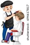 barber giving boy haircut... | Shutterstock .eps vector #694617817
