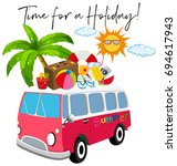 van with summer item and phrase ... | Shutterstock .eps vector #694617943