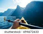 kayaking in norway   point of...   Shutterstock . vector #694672633