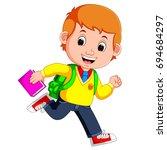 vector illustration of cute boy ...   Shutterstock .eps vector #694684297