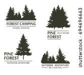 fir trees silhouette logo. pine ... | Shutterstock . vector #694696663