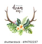 hand drawn watercolor deer... | Shutterstock . vector #694702237