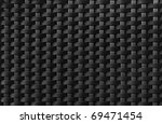 Black textured surface of interlaced nylon strings - stock photo