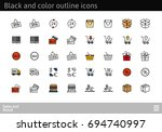black and color outline icons... | Shutterstock .eps vector #694740997