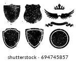 vector grunge shileds  crown ... | Shutterstock .eps vector #694745857