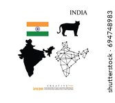 outline map of india  with... | Shutterstock .eps vector #694748983