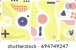 geometry pattern with fruits.... | Shutterstock .eps vector #694749247