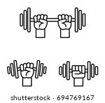 hand with barbell on a white... | Shutterstock .eps vector #694769167