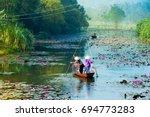 yen stream on the way to huong... | Shutterstock . vector #694773283