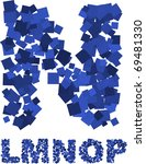 blue vector font made of flying ... | Shutterstock .eps vector #69481330