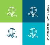 hot air balloon green and blue...