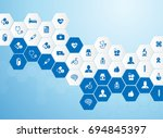 medical background and icons to ... | Shutterstock .eps vector #694845397