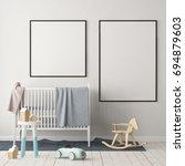 mock up poster in the children... | Shutterstock . vector #694879603