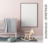 mock up poster in the children... | Shutterstock . vector #694879633