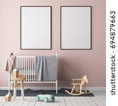 mock up poster in the children... | Shutterstock . vector #694879663
