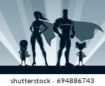 superhero family posing in... | Shutterstock .eps vector #694886743