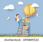 back to school 1 september card ... | Shutterstock .eps vector #694889323