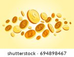flying coins background. gold... | Shutterstock .eps vector #694898467
