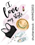 stylish set with fashion... | Shutterstock .eps vector #694902853