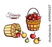 farmers market. local food.... | Shutterstock .eps vector #694904107