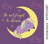 card with unicorn on the moon   ... | Shutterstock .eps vector #694921087