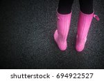 pink rubber or wellington boots ...   Shutterstock . vector #694922527