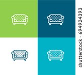 sofa green and blue material...