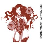 beautiful cartoon girl. vector... | Shutterstock .eps vector #694939633