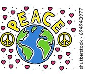 peace pin up and t shirt design | Shutterstock .eps vector #694943977