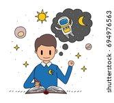 kid in telling story as an... | Shutterstock .eps vector #694976563