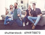group of friends having party...   Shutterstock . vector #694978873