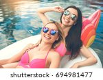 young women friends in the... | Shutterstock . vector #694981477