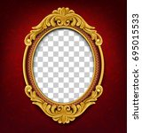 oval vintage frame on red... | Shutterstock .eps vector #695015533