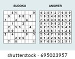 vector sudoku with answer 92....   Shutterstock .eps vector #695023957