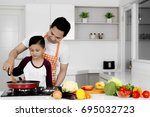 image of young father teaching... | Shutterstock . vector #695032723