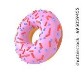 pink glazed donut with... | Shutterstock . vector #695059453