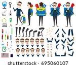 school boy character animation... | Shutterstock .eps vector #695060107