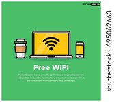 free wifi sign with laptop... | Shutterstock .eps vector #695062663