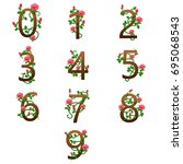 number alphabet with red roses | Shutterstock . vector #695068543