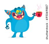 cute blue monster having a cup... | Shutterstock .eps vector #695069887