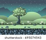 seamless cartoon nature... | Shutterstock .eps vector #695074543